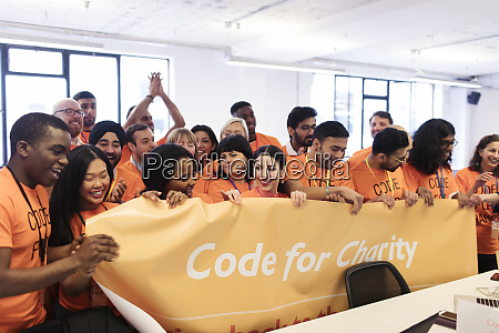 hackers with banner coding for charity