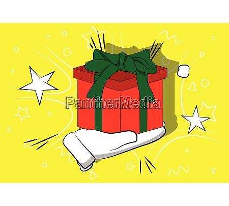 cartoon hand holding gift box