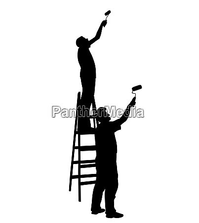 two men painters painting wall
