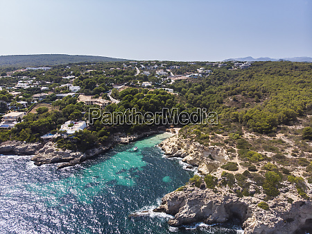spain mallorca aerial view of bay