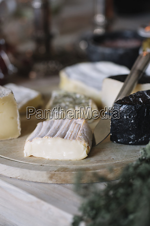 cheese selection on the buffet of