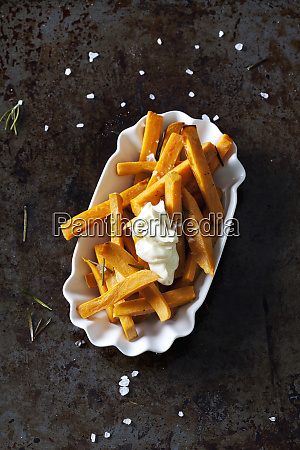 salted sweet potato fries with rosmary