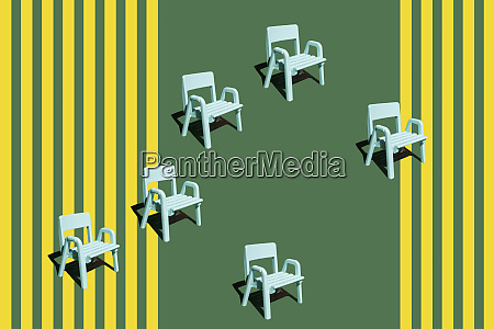 3d rendering picnic chairs miniature