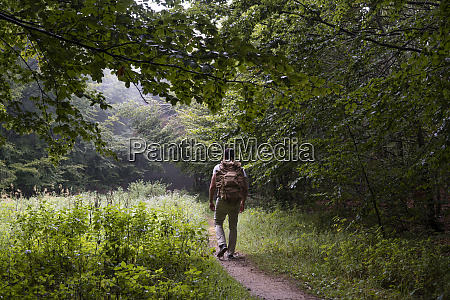 bulgaria balkan mountains hiker with backpack