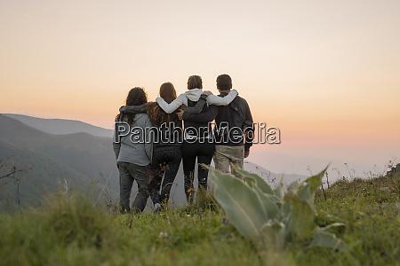 bulgaria balkan mountains group of hikers