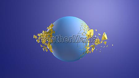 3d rendering blue sphere bursting in