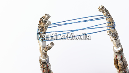 3d rendering robot hands holding blue