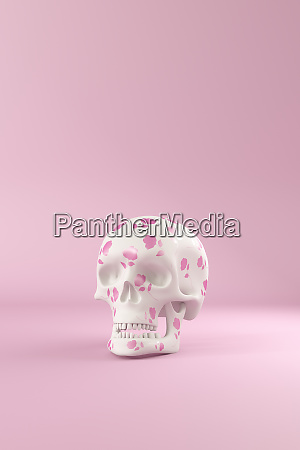 3d rendering skull decorated with pink