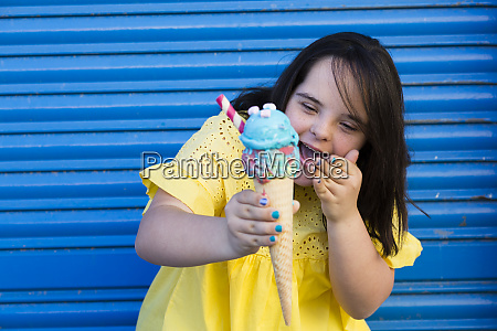 teenager girl with down syndrome enjoying