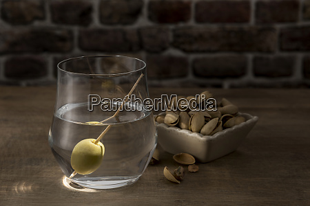 dry martini with green olive