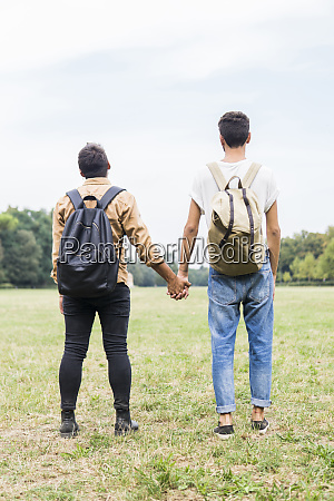 back view of young gay couple