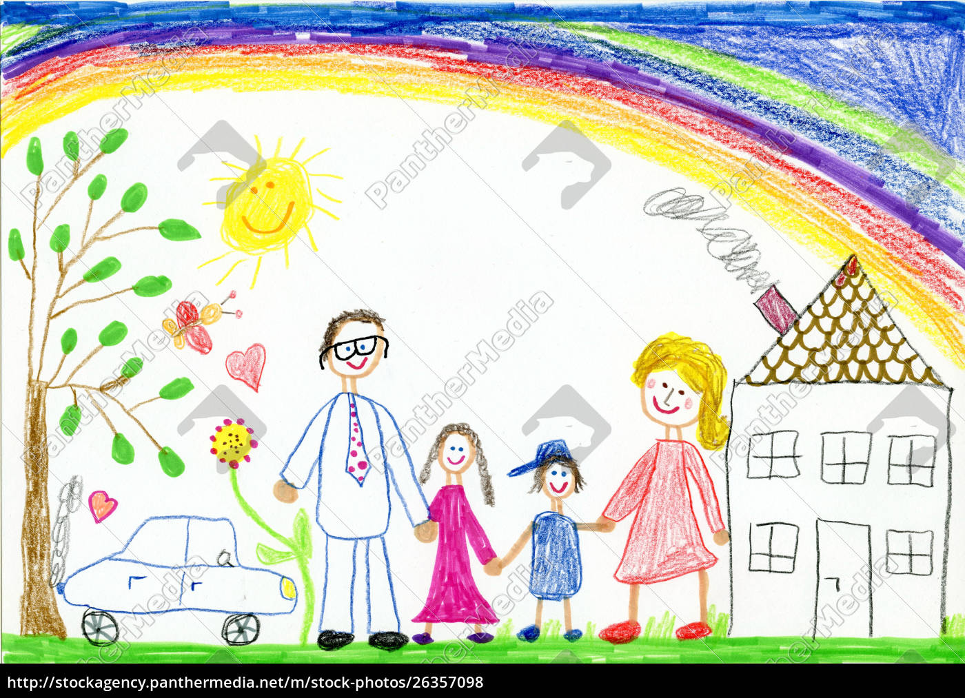 Children S Drawing Happy Family With Garden Car Stock Image