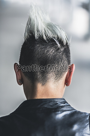 rear view of punk woman with