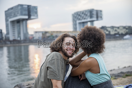 germany cologne happy couple relaxing at