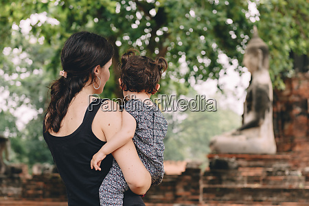 thailand ayutthaya mother and daughter looking