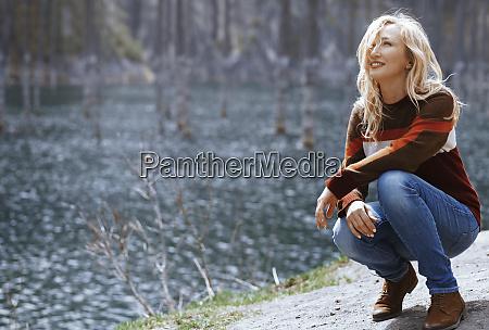 kazakhstan almaty smiling blond woman at