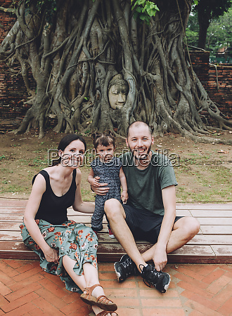 thailand ayutthaya portrait of smiling family
