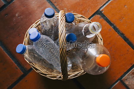 plastic water bottles recycled in basket