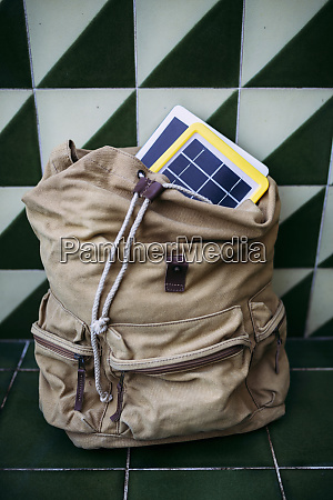 solar panel charger and a tablet