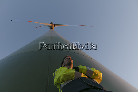 low angle view of engineer standing