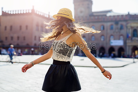 italy bologna young woman dancing on