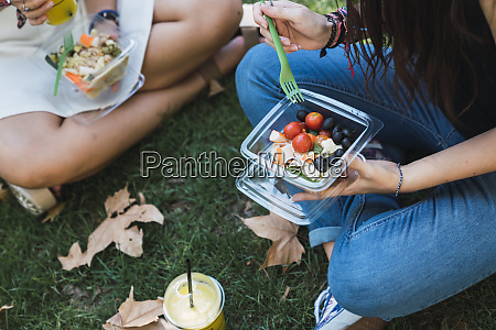 girl friends sitting in a park