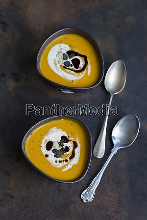 two bowls of homemade hokkaido pumpkin