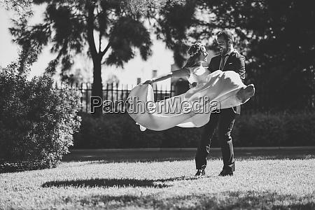 bridal couple enjoying wedding day in