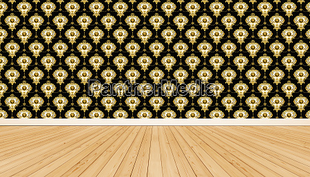 wooden floor and wallpaper with ornamental