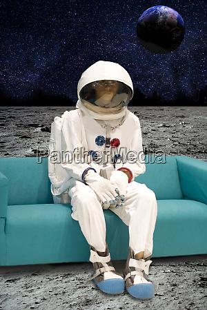 man on the moon sitting on