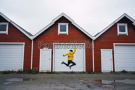 norway man jumping in front of