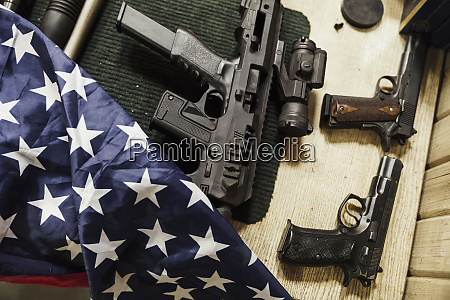 rifles guns and american flag on