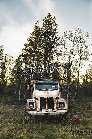 broke vintage truck standing in meadow