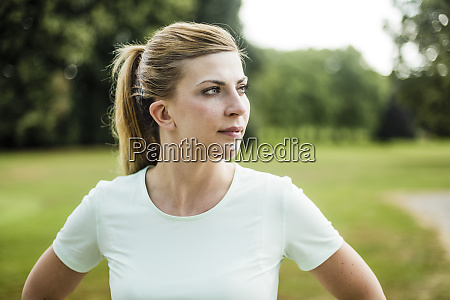 portrait of sportive young woman in
