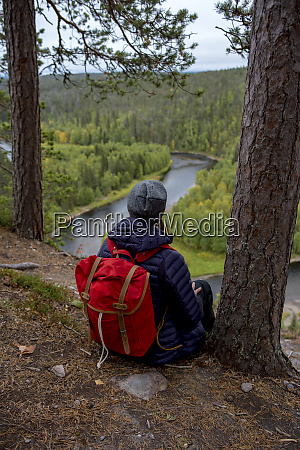 finland oulanka national park woman with