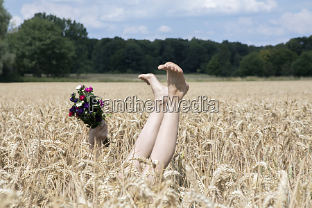 naked legs of girl and hand