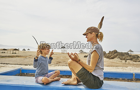 chile arica happy mother in yoga