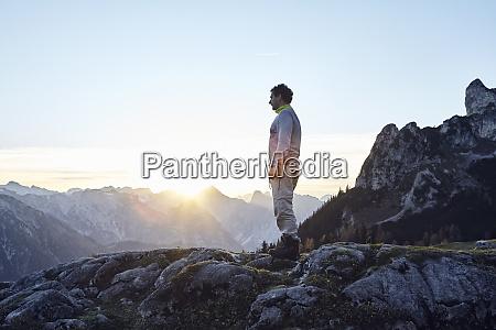 austria tyrol rofan mountains hiker standing