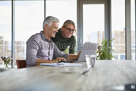 smiling mature couple using laptop on
