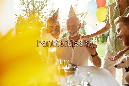 happy family on a garden birthday