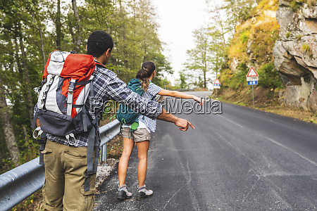 italy massa couple hitchhiking on a