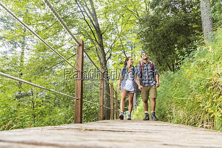 italy massa young couple hiking and