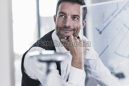 businessman working in office using futuristic