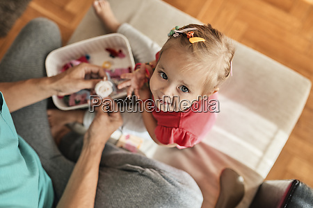 portrait of little girl playing together
