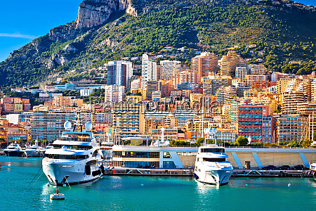 monte carlo yachting harbor and colorful
