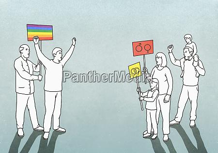 lgbtqi pride event participants facing off