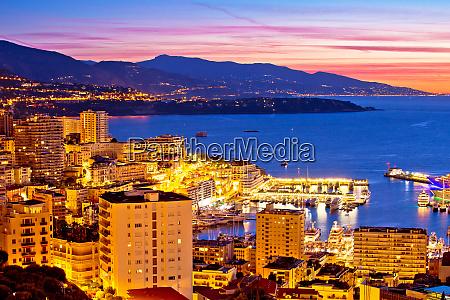 monte carlo cityscape colorful evening view