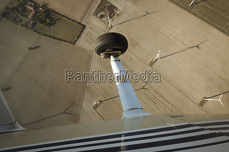 aerial view from airplane of wind