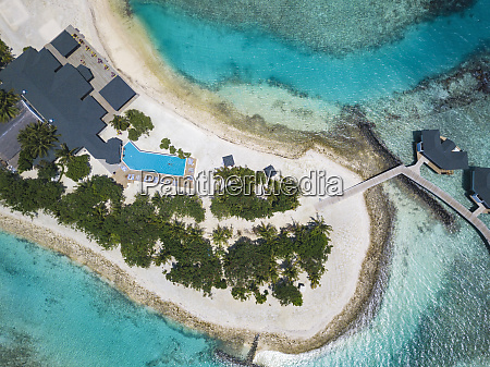 aerial view of tropical island and