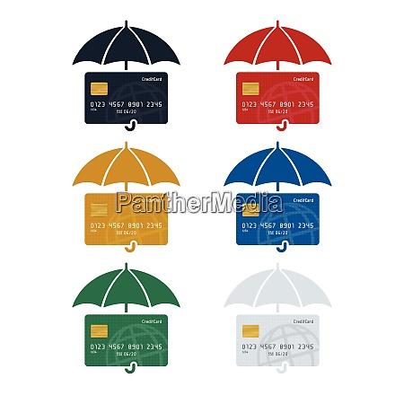 credit card icon with umbrella
